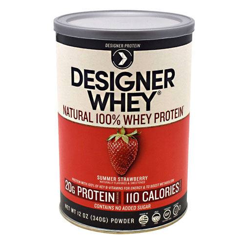 Designer Whey Protein Strawberry 12.7 Oz by Designer Whey 100 calories. 18g protein. 2g sugar. No artificial flavors. No artificial sweeteners. No gluten. No soy protein. No MSG. No casein. Designed for your active lifestyle. Our passion for health and fitness continually drives us to deliver smart, simple and convenient products-designed with your body in mind-so that you can easily reach your wellness goal, even with today's hectic schedules. As the innovators of whey protein powders since 1993, we strive to create products that evolve with your needs while being delicious, balanced for optimal health, and easy to fit into your daily routine. Why designer whey? Great taste. Smooth and delicious-making your nutrition plan that much more enjoyable! 100 calories. With each servings at only 100 calories, you are in control of your protein and calorie intake. 18g protein. 36% of your daily protein per serving-the right amount of your active lifestyle, yet easy on your digestive system. 100% premium whey protein. Our whey is pure so body quickly absorbs it for maximum post-workout recovery and nutrition. Designer whey is a complete protein with the right balance of amino acids that help your immune system. Essential vitamins & minerals. Excellent source of calcium, vitamin D and B-vitamins.
