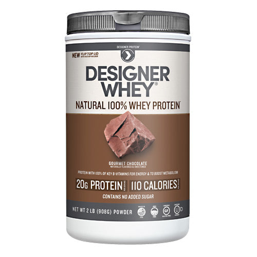 Designer Whey Protein Chocolate 2.1 Lb by Designer Whey 100 calories. 18g protein. 2g sugar. No artificial flavors. No artificial sweeteners. No gluten. No soy protein. No MSG. No casein. Designed for your active lifestyle. Our passion for health and fitness continually drives us to deliver smart, simple and convenient products-designed with your body in mind-so that you can easily reach your wellness goal, even with today's hectic schedules. As the innovators of whey protein powders since 1993, we strive to create products that evolve with your needs while being delicious, balanced for optimal health, and easy to fit into your daily routine. Why designer whey? Great taste. Smooth and delicious-making your nutrition plan that much more enjoyable! 100 calories. With each servings at only 100 calories, you are in control of your protein and calorie intake. 18g protein. 36% of your daily protein per serving-the right amount of your active lifestyle, yet easy on your digestive system. 100% premium whey protein. Our whey is pure so body quickly absorbs it for maximum post-workout recovery and nutrition. Designer whey is a complete protein with the right balance of amino acids that help your immune system. Essential vitamins & minerals. Excellent source of calcium, vitamin D and B-vitamins.