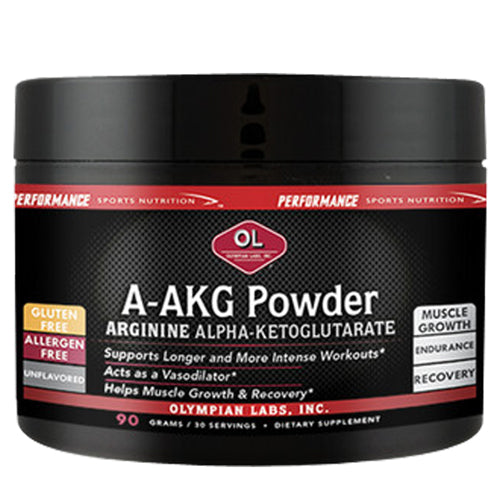 A-AKG Powder 90 g by Olympian Labs Dietary Supplement Supports Longer and More Intense Workouts* Acts as a Vasodilator* Helps Muscle Growth & Recovery* Gluten Free, Allergen Free Endurance*