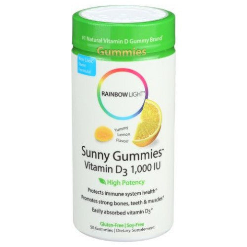 Sunny gummies Vitamin D3 Yummy Lemon, 50 Gummies by Rainbow Light Dietary SupplementProtects Immune System Health* Promotes Strong Bones, Teeth & Muscles* Easily Absorbed Vitamin D3* Gluten-Free/Soy-Free New Look Same Great Formula