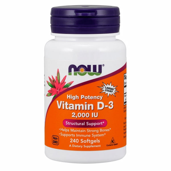 Vitamin D-3 2000 IU 240 Softgels by Now Foods Now Vitamin D-3 softgels supply this key vitamin in a highly-absorbable liquid softgel form. Vitamin D is normally obtained from the diet or produced by the skin from the ultraviolet energy of the sun. However, it is not abundant in food. As more people avoid sun exposure, Vitamin D supplementation becomes even more necessary to ensure that your body receives an adequate supply.