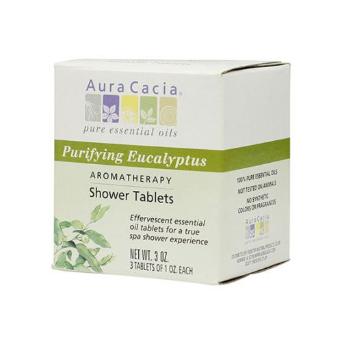 Shower Tablets Eucalyptus, 3 Tablets by Aura Cacia 100% Pure Essential OilsEffervescent Essential Oil Tablets for a True Spa Shower Experience Pure Essential Oils