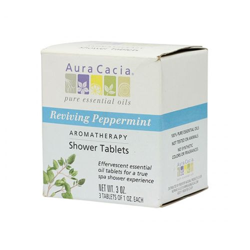 Shower Tablets Peppermint, 3 Tablets by Aura Cacia 100% Pure, Organic Essential OilsEffervescent Tablets That Offer True Aromatherapy Benefits Via Organic Essential Oils Pure Aromatherapy