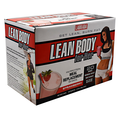 Lean Body For Her Strawberry 20 CT by LABRADA NUTRITION Easy-to-use packets! Delicious taste! Makes a delicious creamy shake! 30g Protein per serving! Use as a meal or snack; Aspartame-free; High calcium; Low fat. Lean Body for Her is rich in the nutrients women need to get into great shape and achieve optimum health! Lean Body for Her is high in protein, ideal for low carb diets and is fortified with soy protein, folic acid, and essential vitamins and minerals. Use it twice daily as a meal replacement, or as a treat between meals. Lean Body for Her is a delicious, nutritious shake that can help you achieve your self-improvement goals! Who should use Lean Body for Her? Women of all ages desire to tone lean muscle, burn unwanted fat and reduce inches from their hips, thighs, and buttocks. Lean Body for Her works best when used in conjunction with a low calorie diet and exercise. What can Lean Body for Her for me? Lean Body for Her is a unique meal replacement powder formulated specifically for women's nutritional needs. It is high in the nutrients that an active woman needs to get into great shape and achieve optimum health. It contains the nutritional insurance you need when you are dieting and losing fat. Is Lean Body for Her easy to use? Yes! Lean Body for Her comes in convenient, serving size packets that fit easily into your purse, briefcase, or gym bag. Whenever you want a fast, delicious and nutritious meal or snack, just tear open the packet and mix cold water, skim milk, or juice. How should I use Lean Body for Her? Lean Body for Her should be used twice per day as a meal replacement or as a treat in between meals. How does Lean Body for Her work? Lean Body for Her contains a combination of healthy ingredients that work together synergistically to provide nutritional support for lean muscle tissue, fat loss, and increasing energy. Here's what you get in every packet of Lean Body for Her: 30 grams of high-quality protein. Protein is necessary for the maintena