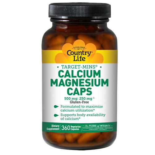Calcium-Magnesium with Vitamin D 360 Vcaps by Country Life 1000 mg : 500 mg : 400 I.U. Vitamin D*Considered as Dietary SupplementEstablished 1971Formulated to Maximize Calcium AbsorptionGluten-FreeTarget-Mins