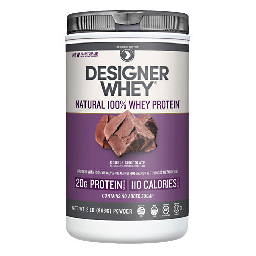 Designer Whey Protein 2 lbs by Designer Whey 100 calories. 18g protein. 2g sugar. No artificial flavors. No artificial sweeteners. No gluten. No soy protein. No MSG. No casein. Designed for your active lifestyle. Our passion for health and fitness continually drives us to deliver smart, simple and convenient products-designed with your body in mind-so that you can easily reach your wellness goal, even with today's hectic schedules. As the innovators of whey protein powders since 1993, we strive to create products that evolve with your needs while being delicious, balanced for optimal health, and easy to fit into your daily routine. Why designer whey? Great taste. Smooth and delicious-making your nutrition plan that much more enjoyable! 100 calories. With each servings at only 100 calories, you are in control of your protein and calorie intake. 18g protein. 36% of your daily protein per serving-the right amount of your active lifestyle, yet easy on your digestive system. 100% premium whey protein. Our whey is pure so body quickly absorbs it for maximum post-workout recovery and nutrition. Designer whey is a complete protein with the right balance of amino acids that help your immune system. Essential vitamins & minerals. Excellent source of calcium, vitamin D and B-vitamins.