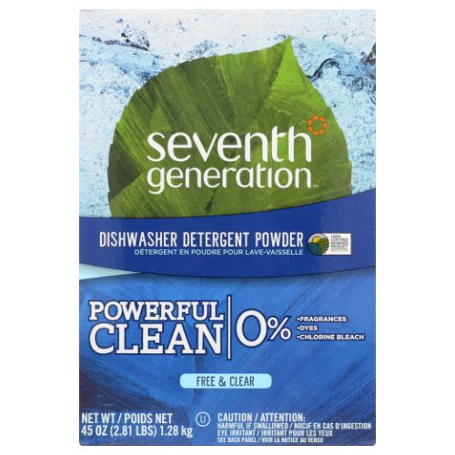 Automatic Dishwashing Powder Free & Clear 45 oz(case of 12) by Seventh Generation Gets dishes sparkling clean,Biodegradable,Chlorine and phosphate Free, Safe for septic systems,Packed in biodegradable PVA,100% recycled paper box (35% post consumer).
