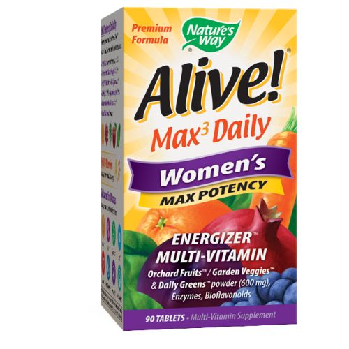 Alive Women's Multi-Vitamin Womens 90 Tabs by Nature's Way #1 Mega Nutrient26 Fruits &VegetablesAmino AcidsAntioxidantsConsidered as Dietary SupplementEnzymes Green FoodsLuteinMushroomsNew & ImproveResveratrol Vitamins & MineralsWhole Food Energizer