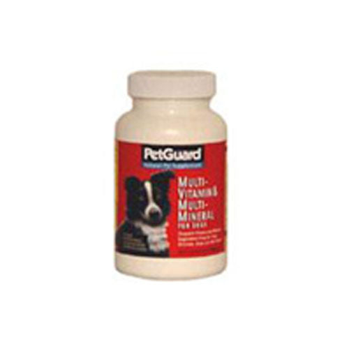 Dog Multi-Vitamin and Minerals 50 Tabs by PetGuard PetGuard has developed an excellent formula made especially for dogs who require additional vitamins and minerals. The nutrients have been derived from the most natural sources?starting with Acidophilus, Bee Pollen, Brewers Yeast and with essential vitamins and minerals, including Calcium and Zinc. PetGuard MultiVitamin complements the nutritional benefits of our other fine supplements.
