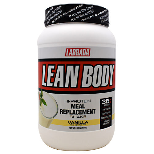 Lean Body Meal Replacement Formula Vanilla Ice Cream 2.47 lb by LABRADA NUTRITION Build Muscle! Burn Fat! Hi-Protein Meal Replacement Shake. Stimulate Muscle Growth! Get Stronger 6000mg BCAA, Recover Faster 7000mg Glutamine, Get Leaner! 7000mg EFA-PLEX-EFAs. Lean Body Hi-protein meal replacement shake is the quick nutrition solution for hard training athletes who have little time to prepare meals. Forget other supplement pills and powders. You get it all in Lean Body: Concentrated muscle-building, fat-burning nutrition in one delicious, easy to make shake. Incredible taste! Lean Body is the best tasting meal replacement powder (MRP) ever made. That's why the American Culinary Institute awarded Lean Body its Gold Medal Taste Award for five years in a row. 50/30/20 (protein/carbohydrate/fat) ratio of macronutrients consisting of highly bio-available, time-release proteins, high-fiber complex carbohydrates, and essential fatty acids, to support lean muscle growth, strength, and higher energy, all day long! 35g of LeanPro proprietary blend of fast-release and slow-release proteins, to give you a sustained flow of vital amino acids to support intracellular nitrogen retention levels for faster muscle growth and strength increases. Over 6,000mg of BCAA's (Branched Chain Amino Acids) per serving. BCAA's have an anti-catabolic effect (prevents muscle tissue breakdown.) Contains 21 Vitamins and Minerals. Over 7,000 mg of Glutamine and Glutamic Acid. Studies show that supplemental glutamine can also prevent muscle breakdown. 21 grams of an advanced blend of complex carbohydrates to help stabilize your blood sugar and insulin levels, to promote greater energy and fat burning. 7 grams of FiberPlex dietary fiber per serving, from Fibersol-2, providing 28% of the RDA for fiber to support superior intestinal and cardiovascular health. 7 grams EFA-Plex containing natural-source omega-3 and -6 fatty acids, medium-chain triglycerides, flaxseed oil, and borage oil. No Maltodextrin. No 