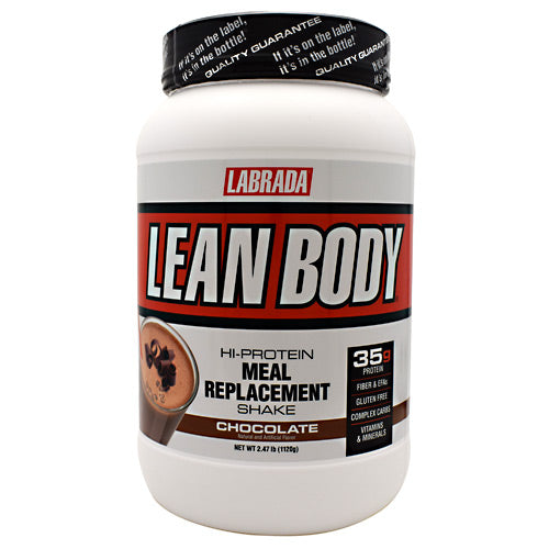 Lean Body Meal Replacement Formula Chocolate Ice Cream 2.47 lb by LABRADA NUTRITION Build Muscle! Burn Fat! Hi-Protein Meal Replacement Shake. Stimulate Muscle Growth! Get Stronger 6000mg BCAA, Recover Faster 7000mg Glutamine, Get Leaner! 7000mg EFA-PLEX-EFAs. Lean Body Hi-protein meal replacement shake is the quick nutrition solution for hard training athletes who have little time to prepare meals. Forget other supplement pills and powders. You get it all in Lean Body: Concentrated muscle-building, fat-burning nutrition in one delicious, easy to make shake. Incredible taste! Lean Body is the best tasting meal replacement powder (MRP) ever made. That's why the American Culinary Institute awarded Lean Body its Gold Medal Taste Award for five years in a row. 50/30/20 (protein/carbohydrate/fat) ratio of macronutrients consisting of highly bio-available, time-release proteins, high-fiber complex carbohydrates, and essential fatty acids, to support lean muscle growth, strength, and higher energy, all day long! 35g of LeanPro proprietary blend of fast-release and slow-release proteins, to give you a sustained flow of vital amino acids to support intracellular nitrogen retention levels for faster muscle growth and strength increases. Over 6,000mg of BCAA's (Branched Chain Amino Acids) per serving. BCAA's have an anti-catabolic effect (prevents muscle tissue breakdown.) Contains 21 Vitamins and Minerals. Over 7,000 mg of Glutamine and Glutamic Acid. Studies show that supplemental glutamine can also prevent muscle breakdown. 21 grams of an advanced blend of complex carbohydrates to help stabilize your blood sugar and insulin levels, to promote greater energy and fat burning. 7 grams of FiberPlex dietary fiber per serving, from Fibersol-2, providing 28% of the RDA for fiber to support superior intestinal and cardiovascular health. 7 grams EFA-Plex containing natural-source omega-3 and -6 fatty acids, medium-chain triglycerides, flaxseed oil, and borage oil. No Maltodextrin. N