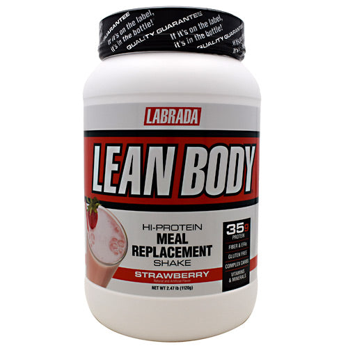 Lean Body Meal Replacement Formula StrawBerry 2.47 lb by LABRADA NUTRITION Build Muscle! Burn Fat! Hi-Protein Meal Replacement Shake. Stimulate Muscle Growth! Get Stronger 6000mg BCAA, Recover Faster 7000mg Glutamine, Get Leaner! 7000mg EFA-PLEX-EFAs. Lean Body Hi-protein meal replacement shake is the quick nutrition solution for hard training athletes who have little time to prepare meals. Forget other supplement pills and powders. You get it all in Lean Body: Concentrated muscle-building, fat-burning nutrition in one delicious, easy to make shake. Incredible taste! Lean Body is the best tasting meal replacement powder (MRP) ever made. That's why the American Culinary Institute awarded Lean Body its Gold Medal Taste Award for five years in a row. 50/30/20 (protein/carbohydrate/fat) ratio of macronutrients consisting of highly bio-available, time-release proteins, high-fiber complex carbohydrates, and essential fatty acids, to support lean muscle growth, strength, and higher energy, all day long! 35g of LeanPro proprietary blend of fast-release and slow-release proteins, to give you a sustained flow of vital amino acids to support intracellular nitrogen retention levels for faster muscle growth and strength increases. Over 6,000mg of BCAA's (Branched Chain Amino Acids) per serving. BCAA's have an anti-catabolic effect (prevents muscle tissue breakdown.) Contains 21 Vitamins and Minerals. Over 7,000 mg of Glutamine and Glutamic Acid. Studies show that supplemental glutamine can also prevent muscle breakdown. 21 grams of an advanced blend of complex carbohydrates to help stabilize your blood sugar and insulin levels, to promote greater energy and fat burning. 7 grams of FiberPlex dietary fiber per serving, from Fibersol-2, providing 28% of the RDA for fiber to support superior intestinal and cardiovascular health. 7 grams EFA-Plex containing natural-source omega-3 and -6 fatty acids, medium-chain triglycerides, flaxseed oil, and borage oil. No Maltodextrin. No Asparta