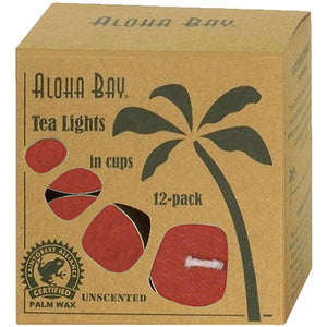 Candle Glass Tea Light Red, 12/0.7 OZ by Aloha Bay