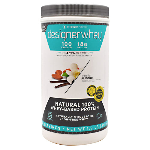 Whey Protein Vanilla Almond 1.9 lb by Designer Whey 100 calories. 18g protein. 2g sugar. No artificial flavors. No artificial sweeteners. No gluten. No soy protein. No MSG. No casein. Designed for your active lifestyle. Our passion for health and fitness continually drives us to deliver smart, simple and convenient products-designed with your body in mind-so that you can easily reach your wellness goal, even with today's hectic schedules. As the innovators of whey protein powders since 1993, we strive to create products that evolve with your needs while being delicious, balanced for optimal health, and easy to fit into your daily routine. Why designer whey? Great taste. Smooth and delicious-making your nutrition plan that much more enjoyable! 100 calories. With each servings at only 100 calories, you are in control of your protein and calorie intake. 18g protein. 36% of your daily protein per serving-the right amount of your active lifestyle, yet easy on your digestive system. 100% premium whey protein. Our whey is pure so body quickly absorbs it for maximum post-workout recovery and nutrition. Designer whey is a complete protein with the right balance of amino acids that help your immune system. Essential vitamins & minerals. Excellent source of calcium, vitamin D and B-vitamins.