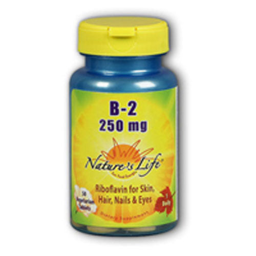 Vitamin B-2 100 tabs by Nature's Life Riboflavin (vitamin B-2) is intended to provide nutritive support for healthy skin and metabolism.