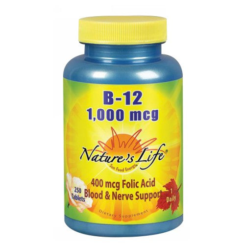 Vitamin B-12 250 tabs by Nature's Life Vitamin B-12 is a water-soluble vitamin. Vitamin B-12 is intended to provide nutritive support for healthy metabolism, nerve function, and red blood cells. Women who consume healthful diets with adequate folic acid may reduce their risk of having a child with birth defects of the brain or spinal cord.