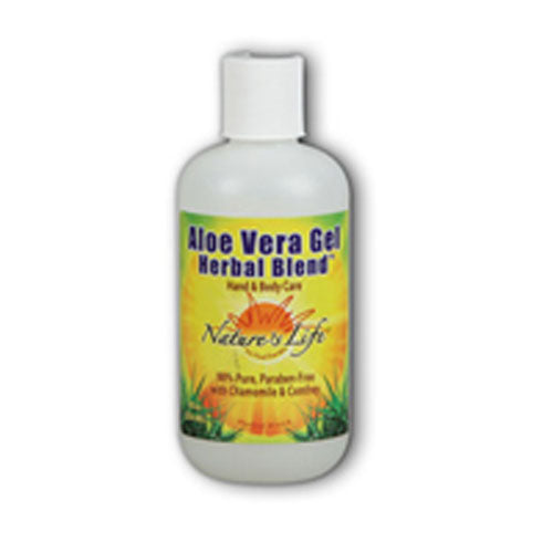 Aloe Vera Gel Unscented 8 oz by Nature's Life Nature's Life Aloe Vera Gel Herbal Blend contains allantoin and azulene to enhance the benefits of aloe vera, producing an superior blend to moistureize and soothe dry irritated skin. when chilled, Nature's Life Aloe Vera Gel Herbal Blend cools and soothes sunburned skin. Used daily, Aloe Vera Gel Herbal Blend help ensure healthy, beautiful, radiant skin.Herbal Blend,Paraben-Free with Chamomile & Comfrey,Hand & Body.