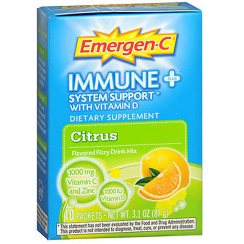 Emergen-C Immune Plus System Support With Vitamin D Citrus,10 Pkt by Alacer Dietary SupplementFlavored Fizzy Drink Mix 1000 IU Vitamin D 1000 mg Vitamin C Zinc and Beta Glucans B Vitamins  Electrolytes