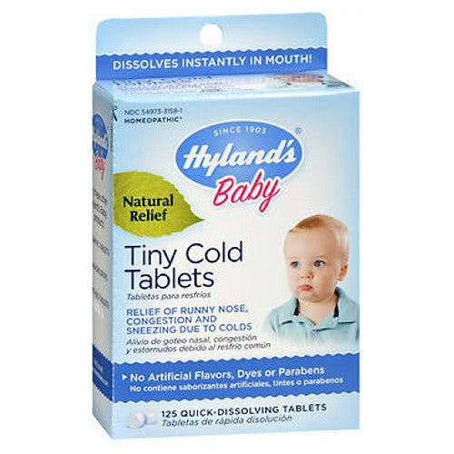 Baby Tiny Cold Tablets 125 TABS by Hylands A Friend of Your Family Since 1903Dissolves Instantly in Mouth!Homeopathic Natural Relief No Artificial Flavors, Dyes or Parabens Relief of Runny Nose, Congestion and Sneezing Due to Colds