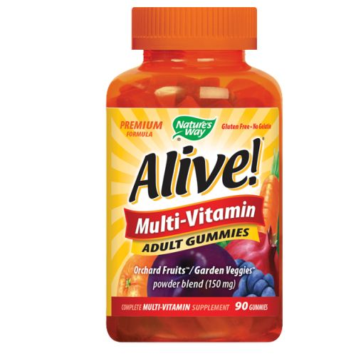Alive Adult Multi-Vitamin Gummies 90 gummies by Nature's Way 26 Fruits  Extra Vitamins C  Gluten FreePremium FormulaSweetened with Organic Tapioca