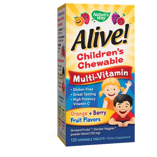 Alive Children's Multi-Vitamin Chewable Tablets 120 chews by Nature's Way 26 Fruits & VegetablesConsidered as Dietary SupplementExtra Vitamin C Gluten FreeGreat Tasting