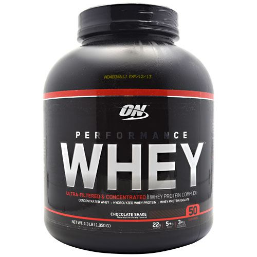 Performance Whey Protein Chocolate 4.3 lb by Optimum Nutrition Performance Whey is an all-whey protein formulated for active adults who demand more from their AM, pre-workout and post-workout shakes. Along with ON's legendary quality, it delivers incredible versatility and superior value. Each scoop mixes up effortlessly in as little as 3 to 4 ounces of water, milk or your favorite beverage. You can also go with 6 to 8 ounces. As a shot or shake, Performance Whey provides amazing milkshake-tasting muscle building support from 22 grams of protein.