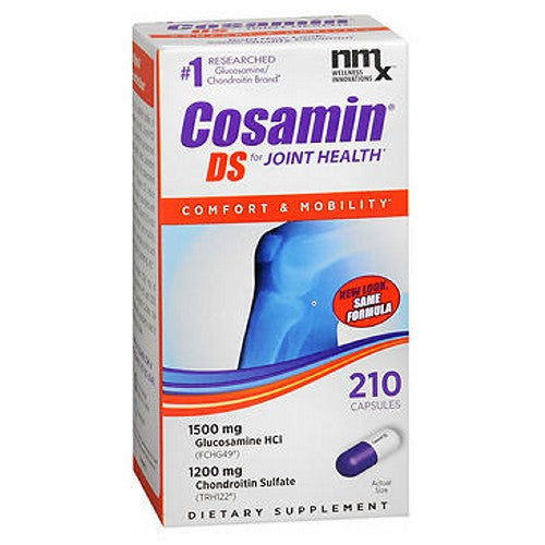 Nutramax Labs Cosamin Ds Exclusive Formula Joint Health Supplement 210 caps by Nutramax Labs This joint supplement is the #1 recommended brand by orthopedic surgeons and rheumatologists. It is the only brand proven effective in controlled, published U.S. studies to reduce joint pain.* Shown in laboratory tests to protect cartilage cells from breakdown. Contains the full clinical strength of active ingredients - compare to other brands. Manufactured in the United States following standards practiced by the pharmaceutical industry. Meets FDA advice for consumers choosing dietary supplements. No known interactions or serious side effects. Exclusive formula allows reduction in the number of capsules taken over time. One bottle can last up to 7 months when taking 1 capsule daily on a long-term basis. *These statements have not been evaluated by the Food and Drug Administration. This product is not intended to diagnose, treat, cure or prevent any disease.