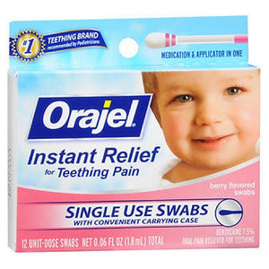 Baby Orajel Instant Teething Pain Relief Swabs - Berry Flavor 12 ct