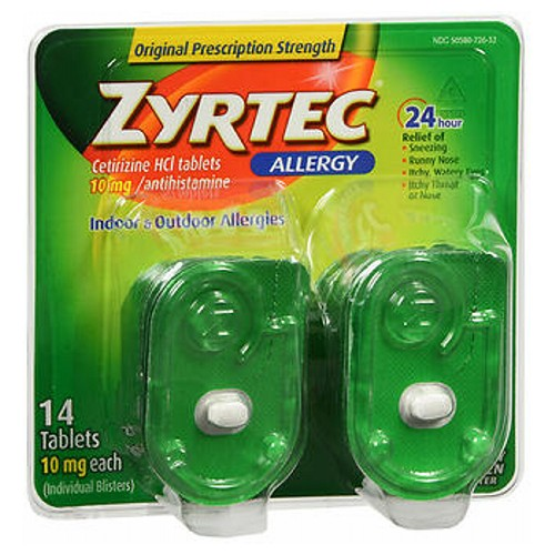 Zyrtec Allergy Tablets 14 tabs by Johnson & Johnson Temporarily relieves these symptoms due to hay fever or other upper respiratory allergies: runny nose; sneezing; itchy, watery eyes; itching of the nose or throat. Indoor and outdoor allergies.