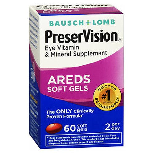 Bausch And Lomb Preservision Eye Vitamin And Mineral Supplements With Areds 60 sgels by Bausch And Lomb Eye Vitamin  Mineral Supplement The Only Clinically Proven Formula*
