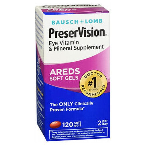 Bausch And Lomb Preservision Eye Vitamin And Mineral Supplements With Areds 120 sgels by Bausch And Lomb Eye Vitamin  Mineral Supplement The Only Clinically Proven Formula*