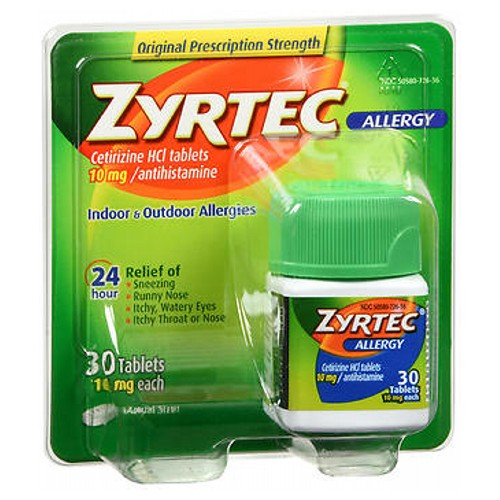 Zyrtec Allergy Tablets 30 tabs by Johnson & Johnson Temporarily relieves these symptoms due to hay fever or other upper respiratory allergies: runny nose; sneezing; itchy, watery eyes; itching of the nose or throat. Indoor and outdoor allergies.