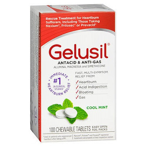 Gelusil Antacid Anti-Gas Tablets Cool mint 100 tabs by Gelusil Relieves: heartburn, sour stomach, acid indigestion, bloating, pressure and discomfort commonly referred to as gas.