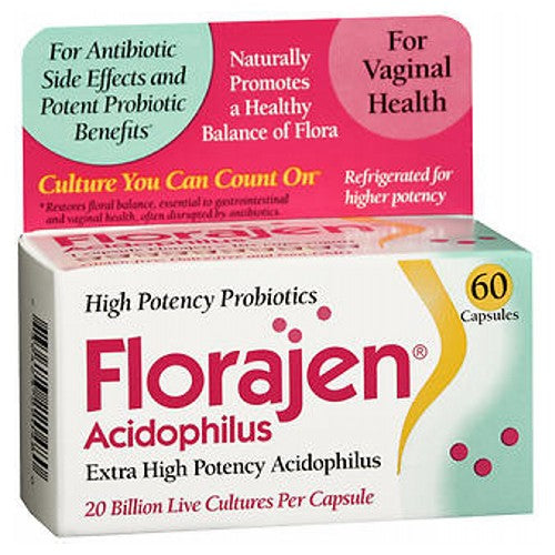 Florajen Acidophilus Probiotic Capsules 60 caps by Florajen Promotes a Healthy Balance of Vaginal Flora Naturally* For Antibiotic Side Effects* Refrigerated for Higher Potency Probiotic High Potency Dietary Supplement 20 Billion Live Cultures Per Capsule