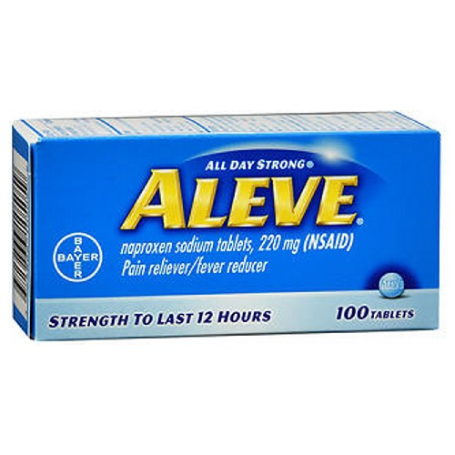 Aleve All Day Strong Pain Reliever And Fever Reducer Tablets 100 tabs by Aleve Temporarily relieves minor aches and pains due to: Minor pain of arthritis Muscular aches Backache Menstrual cramps Headache Toothache The common cold. Temporarily reduces fever. Strength to last 12 hours.