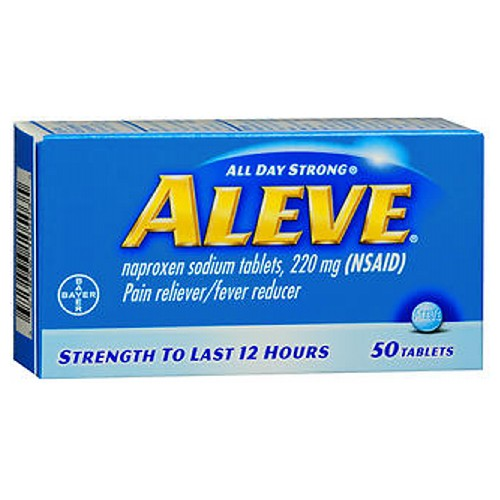 Aleve All Day Strong Pain Reliever And Fever Reducer Tablets 50 tabs by Aleve Temporarily relieves minor aches and pains due to: Minor pain of arthritis Muscular aches Backache Menstrual cramps Headache Toothache The common cold. Temporarily reduces fever. Strength to last 12 hours.