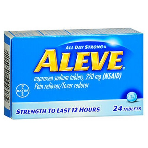 Aleve All Day Strong Pain Reliever Fever Reducer Tablets 24 tabs by Bayer All Day Strong* Pain Reliever/Fever Reducer* Strength to Last 12 Hours Naproxen Sodium Tablets, 220 Mg (NSAID)
