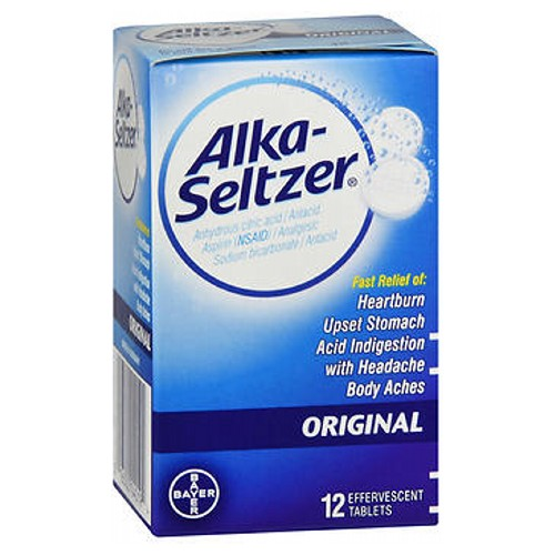 Alka-Seltzer Original Effervescent Antacid Tablets 12 tabs by Bayer New Look! Same Formula Original Fast Relief of: Heart Burn Upset Stomach Acid Indigestion with Headache Body Aches