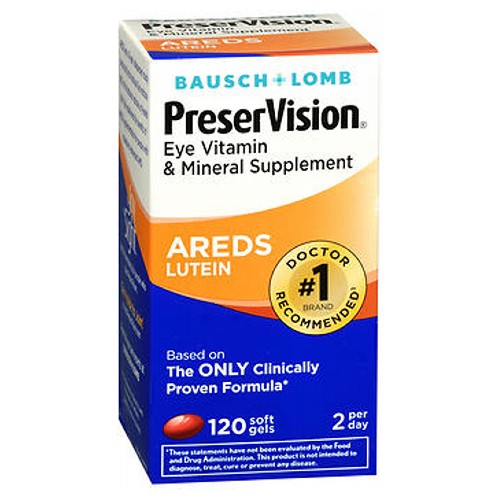 Bausch And Lomb Preservision Eye Vitamin And Mineral Supplements Lutein Softgels 120 sgels by Bausch And Lomb Eye Vitamin  Mineral Supplement Based on the Areds Formula* Helps Promotes Eye Health*