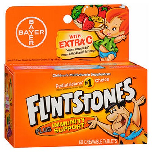 Flintstones Children's Multivitamin Plus Immunity Support Chewable Tablets 60 each by Flintstones Artificially FlavoredContains as Much Vitamin C as 2 OrangesFruit Flavors & Fun Character ShapesGreat TastingNew FormulaNew! Tasti Smooth - Deliciously Smooth ChewablesPediatricians' #1 Choice Children's Chewable Vitamin BrandSupports a Healthy Immune SystemWith Extra C