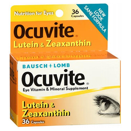 Bausch And Lomb Ocuvite Lutein Eye Vitamin And Mineral Supplement Capsules 36 caps by Bausch And Lomb Eye Vitamin  Mineral Supplement Nutrition for Eyes New Look Same Formula