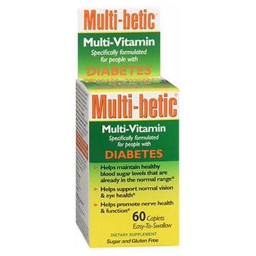 Multi Betic Multi Vitamin Advanced Diabetic Formula 60 tabs by Multi-Betic The vitamins, minerals, antioxidants and supplements contained in original Multi-betic offer a wide range of potential health benefits - including: Healthy blood sugar levels*. Improved weight management*. Enhanced macular eye health  vision*. Support of healthy nerve function*. Promotion of cardiovascular health*. Greater overall energy*. Powerful antioxidant protection*. Compare Multi-betic to all other multi-vitamins on the market and youll find that Multi-beltic is the best, most advanced multi-vitamin formula specifically for people with diabetes. This product is completely free of: sugar, starch, wheat, corn, milk or milk by products, yeast, and artificial colors, flavors  sweeteners. *These statements have not been evaluated by the food and drug administration. This product is not intended to diagnose, treat, cure, or prevent any disease.