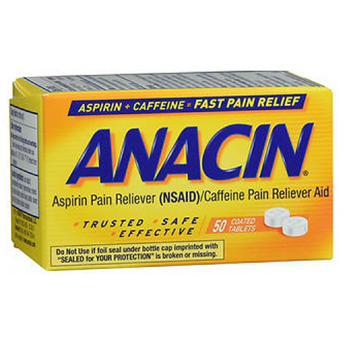 Anacin Pain Relief Aspirin Tablets 50 tabs by Anacin Pain Reliever (NSAID) + Pain Reliever Aid* Trusted* Safe* Effective* Fast Pain Relief*