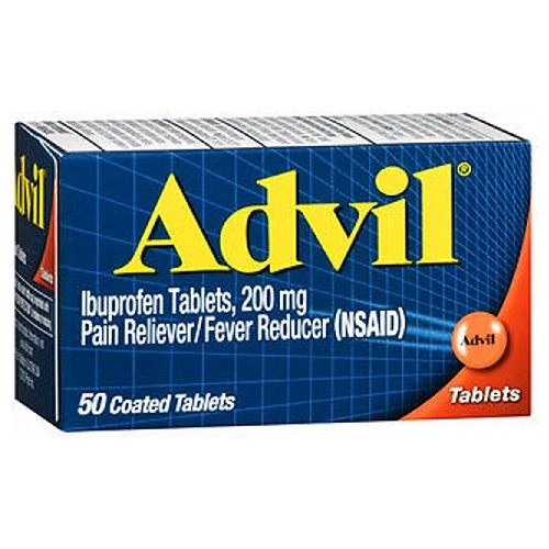 Advil Pain Reliever And Fever Reducer Coated Tablets 50 tabs by Advil Pain Reliever / Fever Reducer (NSAID)* Coated Tablets