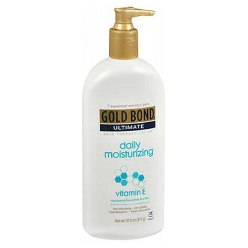 Gold Bond Ultimate Daily Moisturizing Skin Therapy Lotion With Vitamin E 14.5 oz by Gold Bond To hydrate and nourish dry skin. As the lotion is applied daily to normal to dry skin it creates a protective layer of moisture. Then antioxidant vitamin E nourishes the skin to help repair, replenish and fortify the dermis. Unique blend of Hydralast emollients and humectants draw moisture throughout the day, for 24 hour moisturization. To keep skin looking and feeling noticeably healthier. Allergy and dermatologist tested. Non-comedogenic. 7 essential moisturizers. Fast absorbing. Non-greasy. Hypo-allergenic. Fresh clean scent.