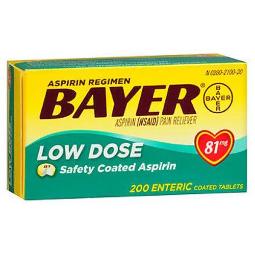 Bayer Aspirin Regimen Low Dose Safety Coated Tablets 200 tabs by Bayer Aspirin Regimen Safety Coated Aspirin* Low Dose Aspirin (NSAID) Pain Reliever*