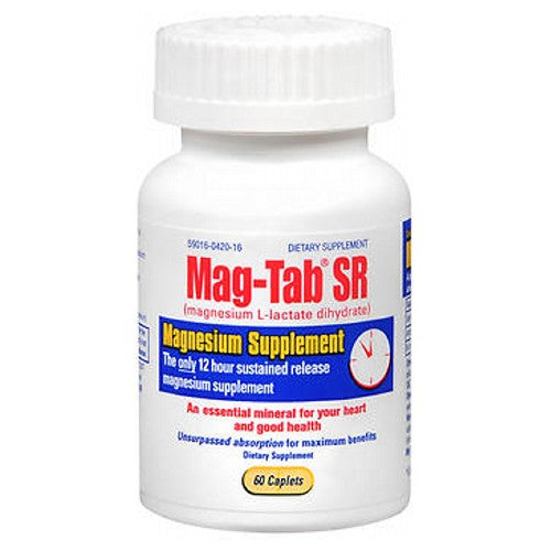 Mag-Tab Mag Tab Sr Magnesium Supplement 60 tabs by Mag-Tab Magnesium - the essential mineral that is for your heart and good health.* Helps your body utilize calcium and potassium. May be depleted by diuretics and other medications used to treat heart disease. Helps maintain function of the heart, GI tract and nervous system.