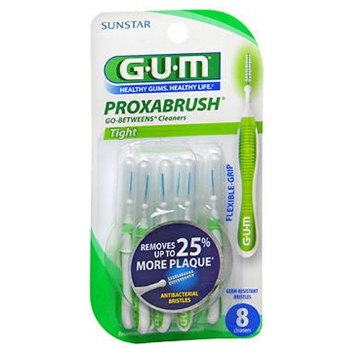 Gum G-U-M Go Between Proxabrush Cleaners Tight tight 8 each by Gum Clean daily between teeth, implants and appliances. Triangular shaped bristles help remove food and plaque. Coated wire for safety. Antibacterial coating on bristles keeps brush clean between uses and inhibits bacterial growth.* Bendable body and neck for better control when cleaning hard-to-reach places. New ergonomic handle for better comfort and control. *Bristles incorporate a patented antibacterial agent for continuous bristle protection during the recommended life of the brush. Bacterial growth that may affect the bristles is inhibited. The agent in the bristles does not protect against disease. As always, patients should rinse their brushes.