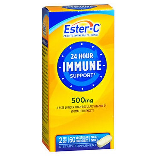 Ester-C Vitamin C Coated Tablets 60 ct by Ester-C Ester-C gives you the added benefits of C-Sorb. Ester, together with C-Sorb and naturally occurring metabolites, works synergistically to quickly absorb into your system and stay there, providing immune system support.* In addition to immune support, Ester-C supports:* heart health*; antioxidant health*; bones, joints and gums*; healthy circulation and blood vessels*; hair, skin and nails.* Plus enhanced absorption stomach friendly* patented vitamin C formula. Ester C provides your body with the immune and antioxidant support it needs to keep you healthy and strong during times of seasonal change and the stresses of daily living.* #1 pharmacist recommended brand.** Suitable for vegetarians. No artificial color, flavor or sweetener, preservatives, sugar, milk, lactose, soy, gluten, wheat, yeast, fish. Sodium free. *These statements have not been evaluated by the Food and Drug Administration. This product is not intended to diagnose, treat, cure or prevent any disease. **Based on the results of the Pharmacy Times Survey among pharmacists who recommend a high potency vitamin C supplement, 2010.