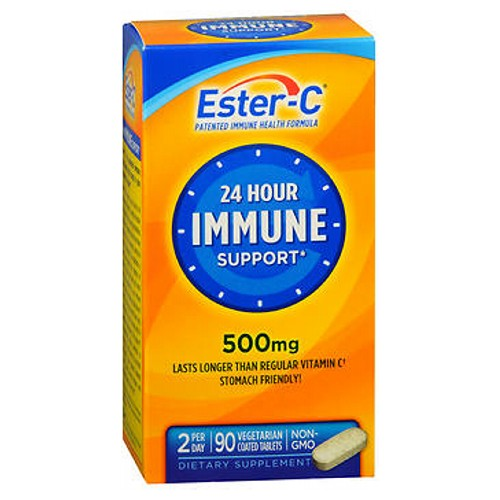 Ester-C Vitamin C Coated Tablets 90 tabs by Ester-C Ester-C gives you the added benefits of C-Sorb. Ester, together with C-Sorb and naturally occurring metabolites, works synergistically to quickly absorb into your system and stay there, providing immune system support.* In addition to immune support, Ester-C supports:* heart health*; antioxidant health*; bones, joints and gums*; healthy circulation and blood vessels*; hair, skin and nails.* Plus enhanced absorption stomach friendly* patented vitamin C formula. Ester C provides your body with the immune and antioxidant support it needs to keep you healthy and strong during times of seasonal change and the stresses of daily living.* #1 pharmacist recommended brand.** Suitable for vegetarians. No artificial color, flavor or sweetener, preservatives, sugar, milk, lactose, soy, gluten, wheat, yeast, fish. Sodium free. *These statements have not been evaluated by the Food and Drug Administration. This product is not intended to diagnose, treat, cure or prevent any disease. **Based on the results of the Pharmacy Times Survey among pharmacists who recommend a high potency vitamin C supplement, 2010.